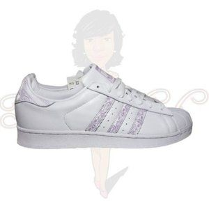 Adidas Superstar Men's White Lace Up Flat Sneakers